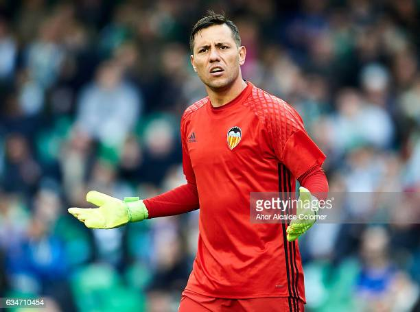 Diego Alves of Valencia CF reacts during La Liga match between Real Betis Balompie and Valencia CF at Benito Villamarin Stadium on February 11 2017...