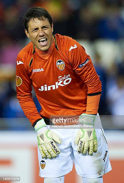 Diego Alves of Valencia CF reacts during the UEFA Europa League quarter final second leg match between Valencia CF and AZ Alkmaar at Estadio Mestalla...