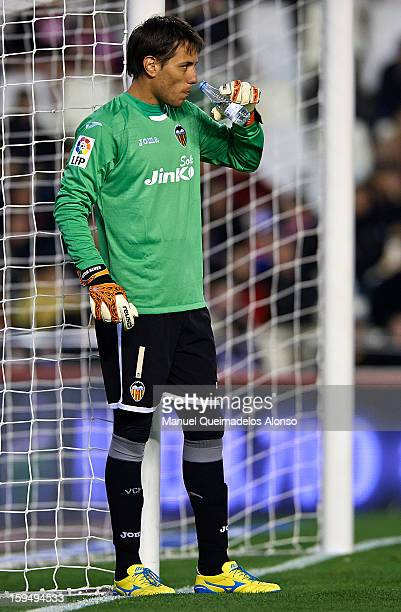 Diego Alves of Valencia drinks water during the La Liga match between Valencia and Sevilla at Estadio Mestalla on January 12 2013 in Valencia Spain