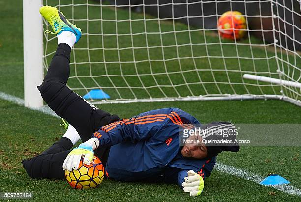 Diego Alves of Valencia in action during a training session ahead La Liga match between Valencia CF and RCD Espanyol at Paterna Training Centre on...
