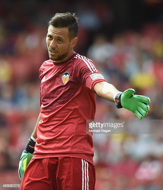 Diego Alves of Valencia in action during the Emirates Cup match between Valencia and AS Monaco at the Emirates Stadium on August 2 2014 in London...