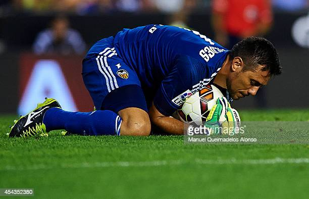 Diego Alves of Valencia in action during the La Liga match between Valencia CF and Malaga CF at Estadi de Mestalla on August 29 2014 in Valencia Spain