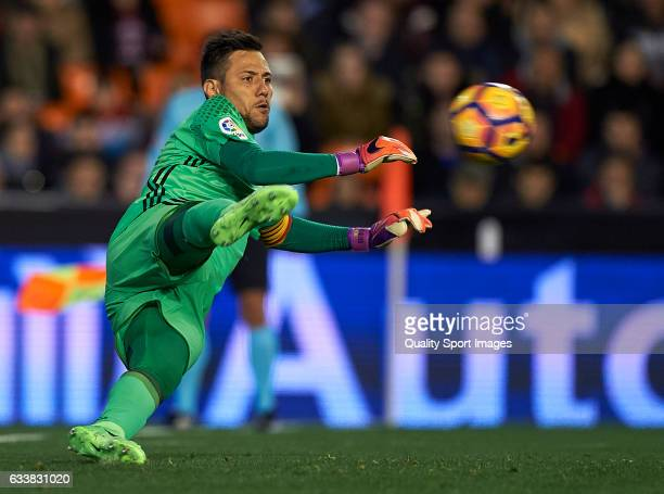 Diego Alves of Valencia in action during the La Liga match between Valencia CF and SD Eibar at Mestalla Stadium on February 4 2017 in Valencia Spain