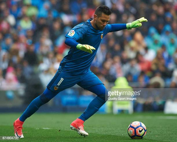 Diego Alves of Valencia in action during the La Liga match between Real Madrid CF and Valencia CF at Estadio Santiago Bernabeu on April 29 2017 in...