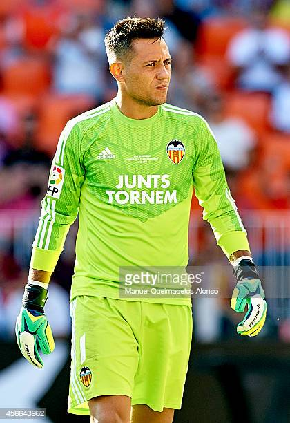 Diego Alves of Valencia looks on during the La Liga match between Valencia CF and Club Atletico de Madrid at Estadi de Mestalla on October 4 2014 in...