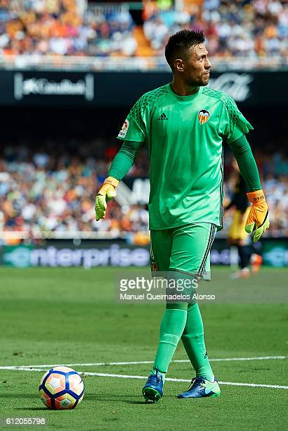 Diego Alves of Valencia looks on during the La Liga match between Valencia CF and Atletico de Madrid at Mestalla Stadium on October 02 2016 in...
