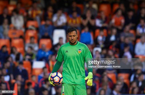 Diego Alves of Valencia looks on during the La Liga match between Valencia CF and Deportivo de La Coruna at Mestalla Stadium on April 2 2017 in...