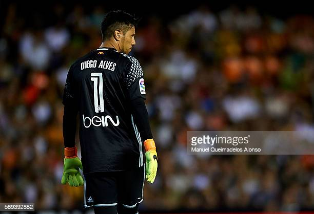 Diego Alves of Valencia looks on during the preseason friendly match between Valencia CF and AC Fiorentina at Estadio Mestalla on August 13 2016 in...