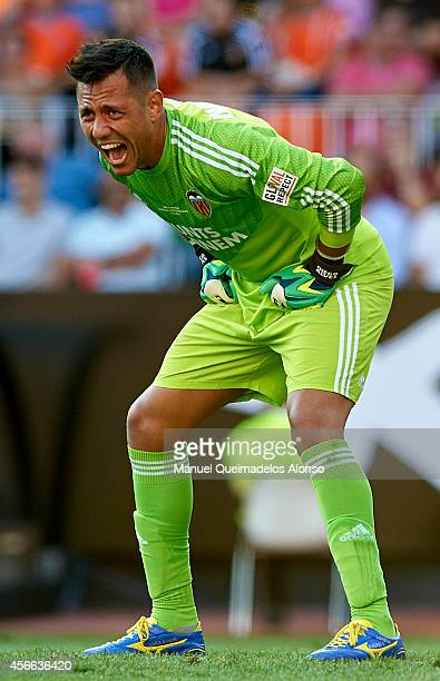 Diego Alves of Valencia reacts during the La Liga match between Valencia CF and Club Atletico de Madrid at Estadi de Mestalla on October 4 2014 in...