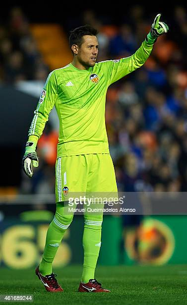 Diego Alves of Valencia reacts during the La Liga match between Valencia CF and UD Almeria at Estadi de Mestalla on January 17 2015 in Valencia Spain