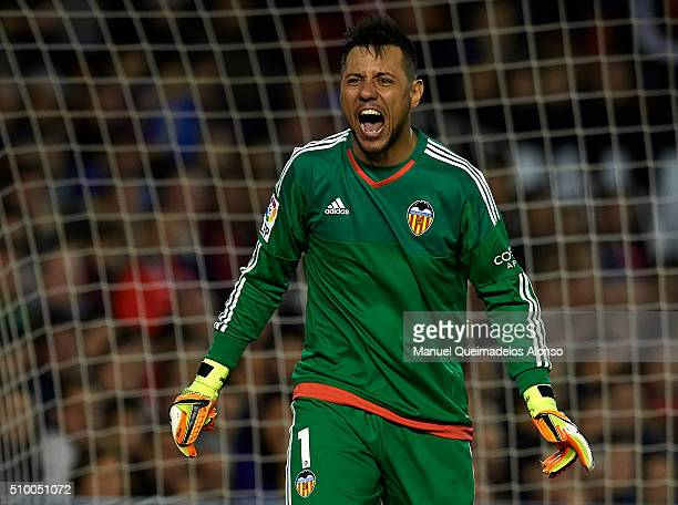 Diego Alves of Valencia reacts during the La Liga match between Valencia CF and RCD Espanyol at Estadi de Mestalla on February 13 2016 in Valencia...