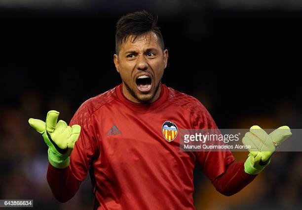 Diego Alves of Valencia reacts during the La Liga match between Valencia CF and Real Madrid at Mestalla Stadium on February 22 2017 in Valencia Spain