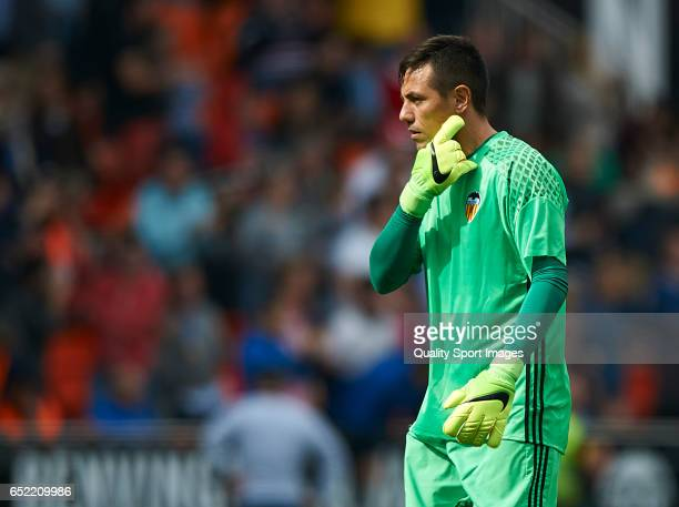 Diego Alves of Valencia reacts during the La Liga match between Valencia CF and Real Sporting de Gijon at Mestalla Stadium on March 11 2017 in...