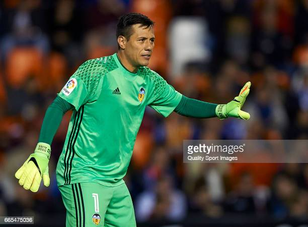 Diego Alves of Valencia reacts during the La Liga match between Valencia CF and RC Celta de Vigo at Mestalla Stadium on April 6 2017 in Valencia Spain