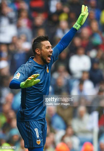 Diego Alves of Valencia reacts during the La Liga match between Real Madrid CF and Valencia CF at Estadio Santiago Bernabeu on April 29 2017 in...