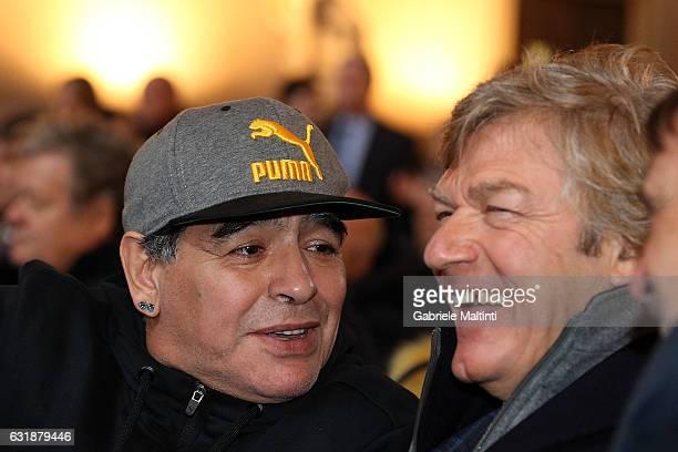 Diego Armando Maradona and Giancarlo Antognoni during the Italian Football Federation Hall of Fame ceremony at Palazzo Vecchio on January 17 2017 in...