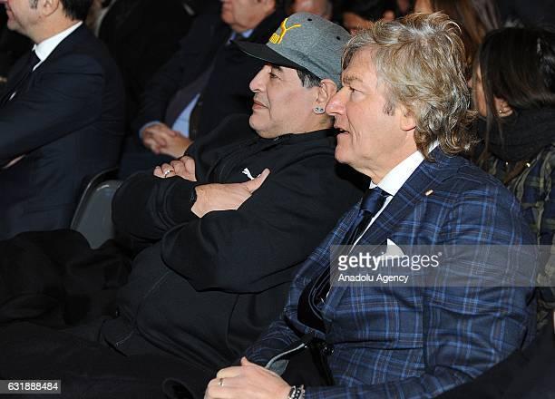 Diego Armando Maradona and Giancarlo Antognoni participate the Italian Football Federation Hall of Fame ceremony at Palazzo Vecchio on January 17...