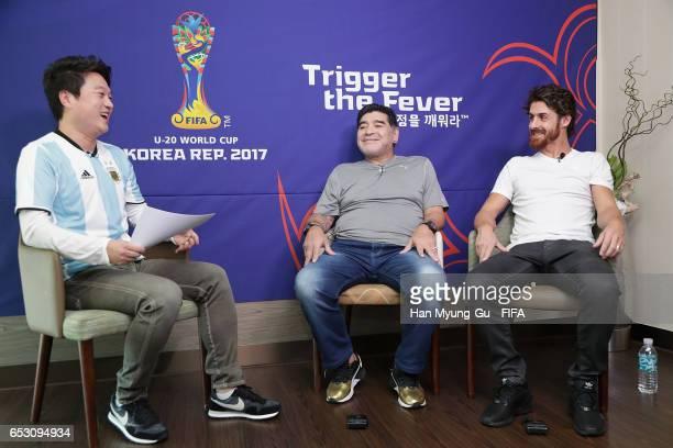 Diego Armando Maradona and Pablo Aimar attend an TV interview prior to Draw Of FIFA U20 World Cup Korea Republic 2017 at Hotel Novotel Suwon on March...