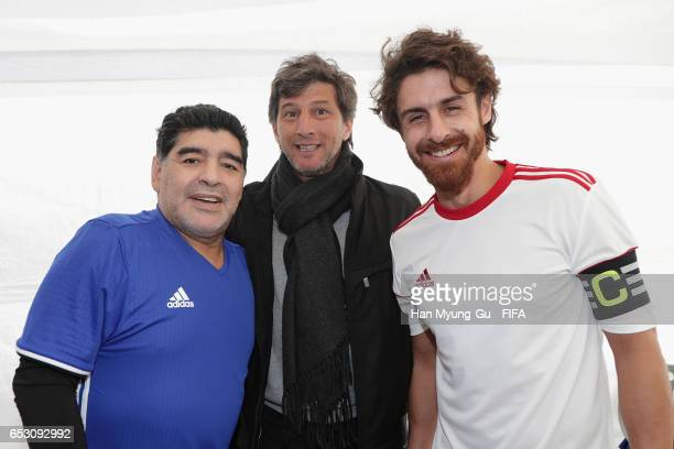 Diego Armando Maradona and Pablo Aimar attend during the mini 5aside football match prior to Draw Of FIFA U20 World Cup Korea Republic 2017 at...