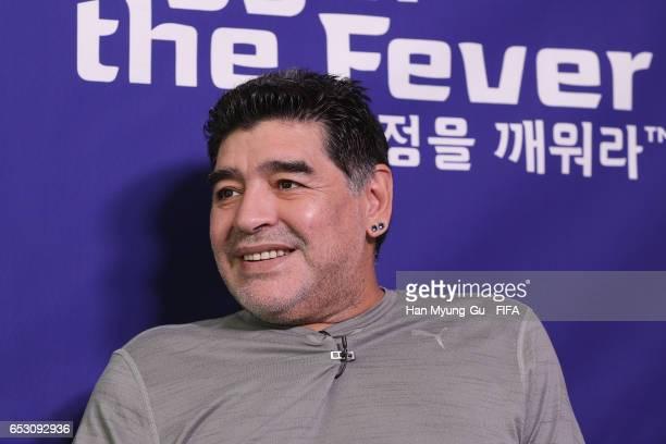 Diego Armando Maradona attends an TV interview prior to Draw Of FIFA U20 World Cup Korea Republic 2017 at Hotel Novotel Suwon on March 14 2017 in...