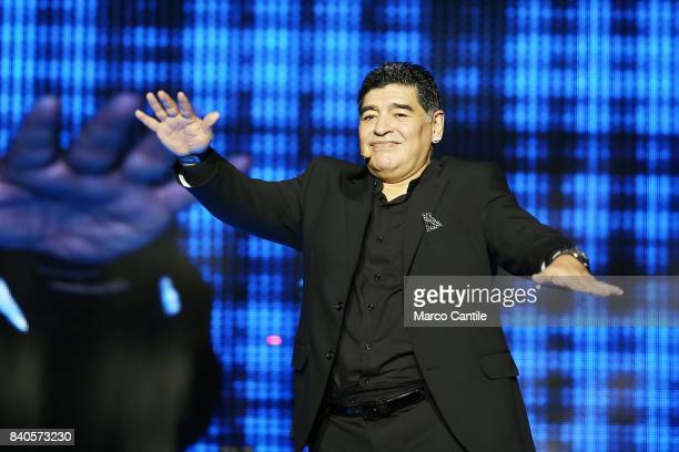 Diego Armando Maradona celebrates in Piazza del Plebiscito honorary citizenship of Naples received a few hours before In the square thousands of fans...
