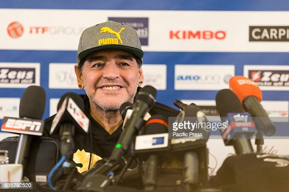 Diego Armando Maradona during press conference of 'Maradona Live Tre volte 10' in 'Hotel Vesuvio' of Naples