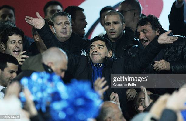 Diego Armando Maradona during the TIM Cup match between SSC Napoli and AS Roma at Stadio San Paolo on February 12 2014 in Naples Italy