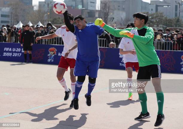 Diego Armando Maradona handles the ball during the mini 5aside football match prior to Draw Of FIFA U20 World Cup Korea Republic 2017 at Hwaseong...