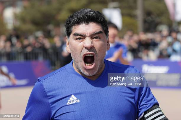 Diego Armando Maradona in action during the mini 5aside football match prior to Draw Of FIFA U20 World Cup Korea Republic 2017 at Hwaseong Haenggung...
