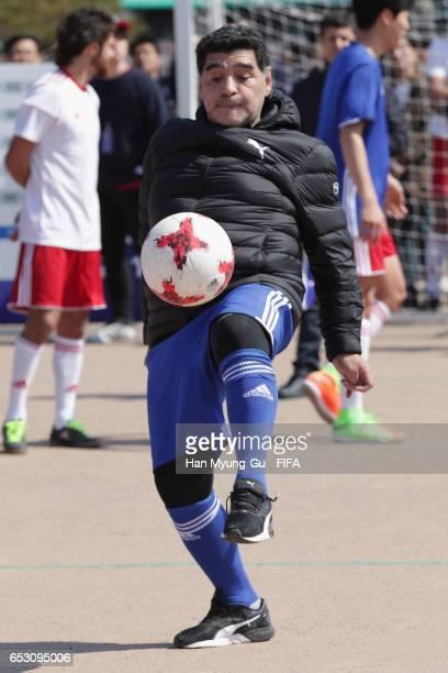 Diego Armando Maradona in action during the mini 5aside football match prior to Draw Of FIFA U20 World Cup Korea Republic 2017 at Hwaseong Haenggung...