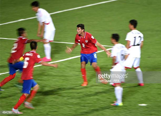 Diego Armando Mesen Calvo of Costa Rica celebrates is goal during the FIFA U17 World Cup Chile 2015 Group E match between Costa Rica and Korea DPR at...