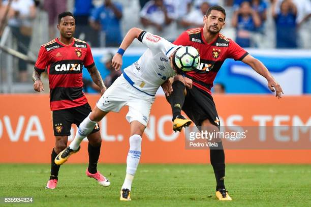 Diego Barbosa of Cruzeiro and Diego Souza of Sport Recife battle for the ball during a match between Cruzeiro and Sport Recife as part of Brasileirao...