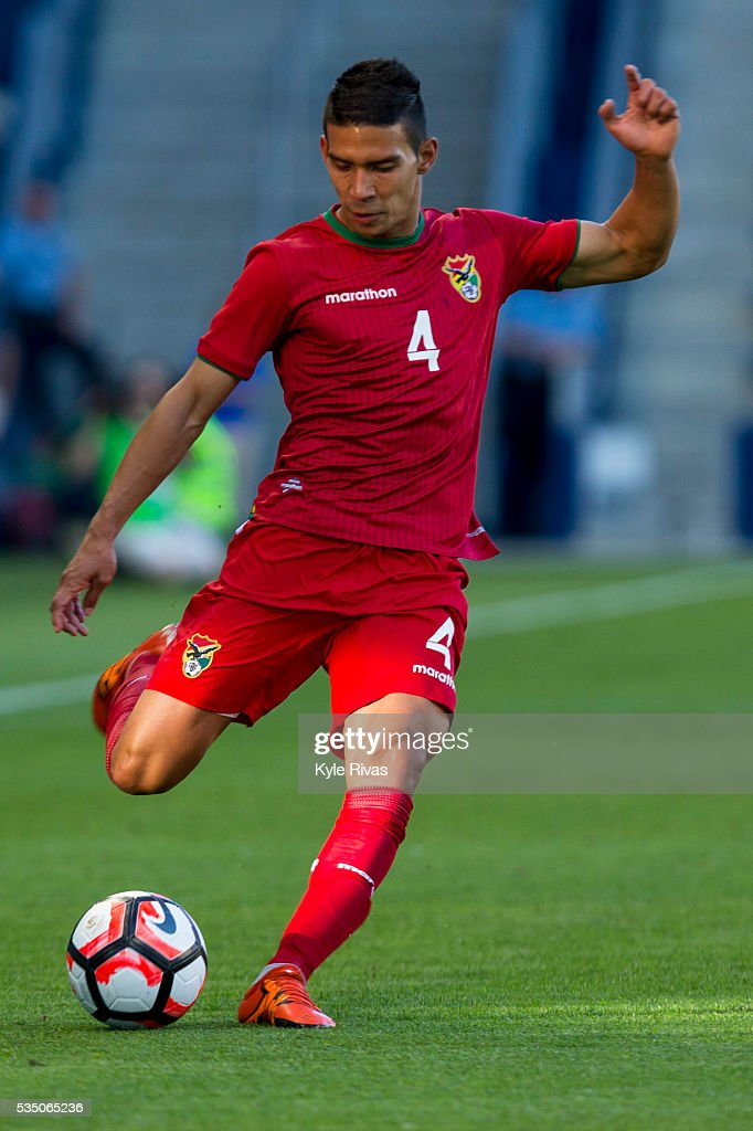 Diego Bejarano #4 of Bolivia drives the ball into the USA backfield in the first half of the COPA America Centenario USA 2016 on May 28, 2016 at Children's Mercy Park in Kansas City, Kansas.