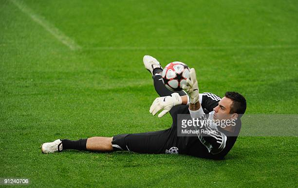 Diego Benaglio catches the ball during the VfL Wolfsburg training session at Old Trafford on September 29 2009 in Manchester England