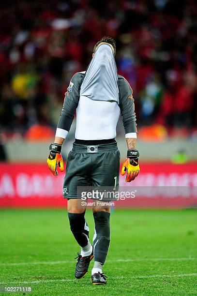 Diego Benaglio of Switzerland covers his face in dejection during the 2010 FIFA World Cup South Africa Group H match between Chile and Switzerland at...