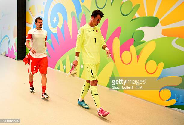 Diego Benaglio of Switzerland shows his dejection in the tunnel after the 01 defeat in the 2014 FIFA World Cup Brazil Round of 16 match between...