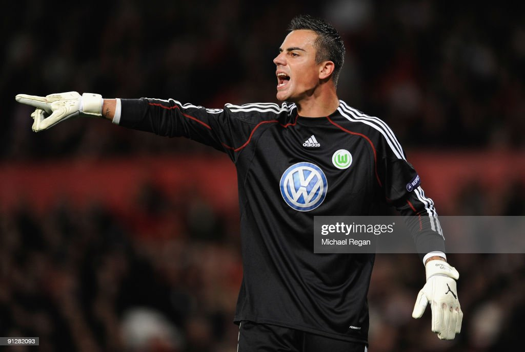 <a gi-track='captionPersonalityLinkClicked' href=/galleries/search?phrase=Diego+Benaglio&family=editorial&specificpeople=543817 ng-click='$event.stopPropagation()'>Diego Benaglio</a> of VfL Wolfsburg gestures during the UEFA Champions League Group B match between Manchester United and VfL Wolfsburg at Old Trafford on September 30, 2009 in Manchester, England.