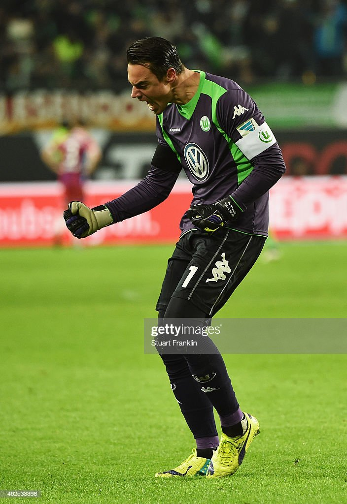 Diego Benaglio of Wolfsburg celebrates his teams fourth goal during the Bundesliga match between VfL Wolfsburg and FC Bayern Muenchen at Volkswagen Arena on January 30, 2015 in Wolfsburg, Germany.
