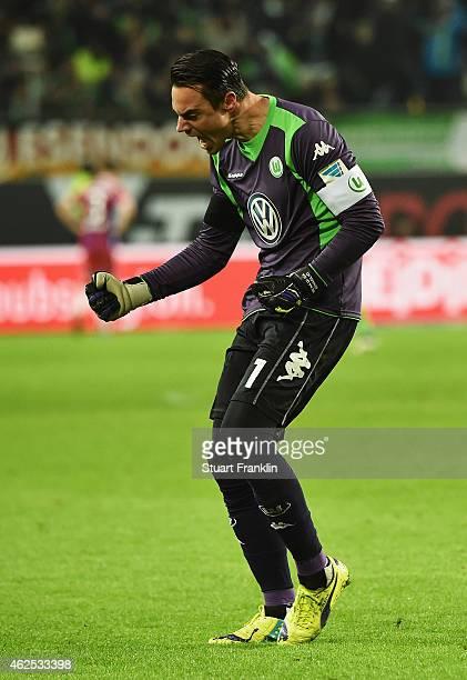 Diego Benaglio of Wolfsburg celebrates his teams fourth goal during the Bundesliga match between VfL Wolfsburg and FC Bayern Muenchen at Volkswagen...
