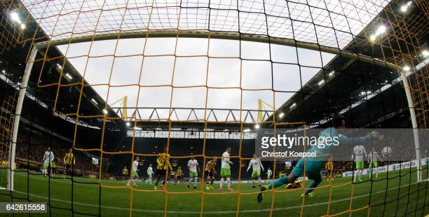 Diego Benaglio of Wolfsburg gets the second goal of Lukasz Piszczek of Dortmund during the Bundesliga match between Borussia Dortmund and VfL...