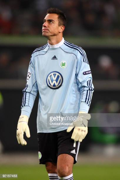 Diego Benaglio of Wolfsburg looks thoughtful during the UEFA Champions League Group B first leg match between VfL Wolfsburg and Besiktas at the...