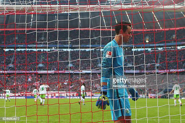 Diego Benaglio of Wolfsburg reacts after receiving the 2nd goal during the Bundesliga match between Bayern Muenchen and VfL Wolfsburg at Allianz...