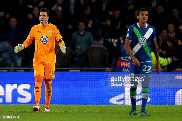 Diego Benaglio of Wolfsburg shows his frustration after the first goal of Eindhoven during the UEFA Champions League Group B match between PSV...