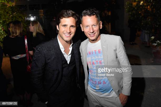 Diego Boneta and Jim Nelson attends GQ Celebrates Milan Men's Fashion Week during Milan Men's Fashion Week Spring/Summer 2018 on June 17 2017 in...