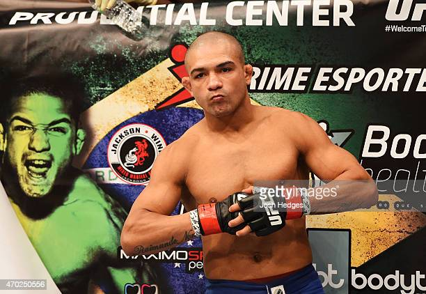 Diego Brandao prepares for his featherweight bout against Jimy Hettes during the UFC Fight Night event at Prudential Center on April 18 2015 in...