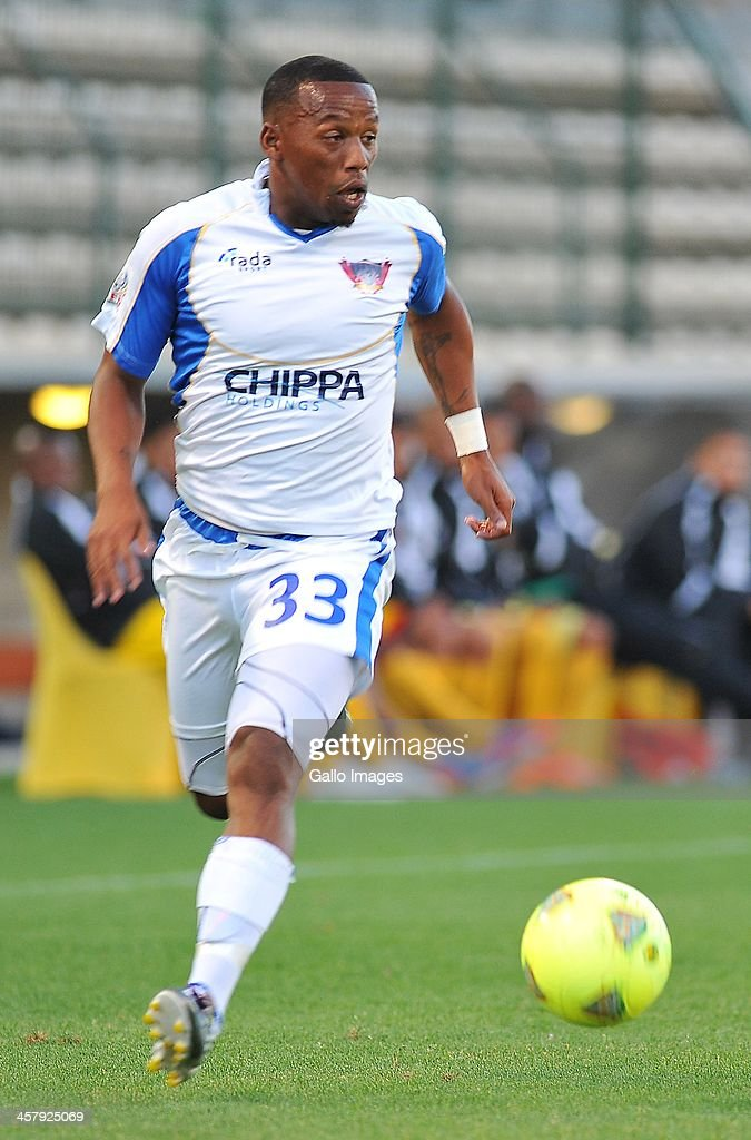 Diego Brown of Chippa United during the National First Division Qualification match between Santos and Chippa United at Athlone Stadium on December 18, 2013 in Cape Town, South Africa.
