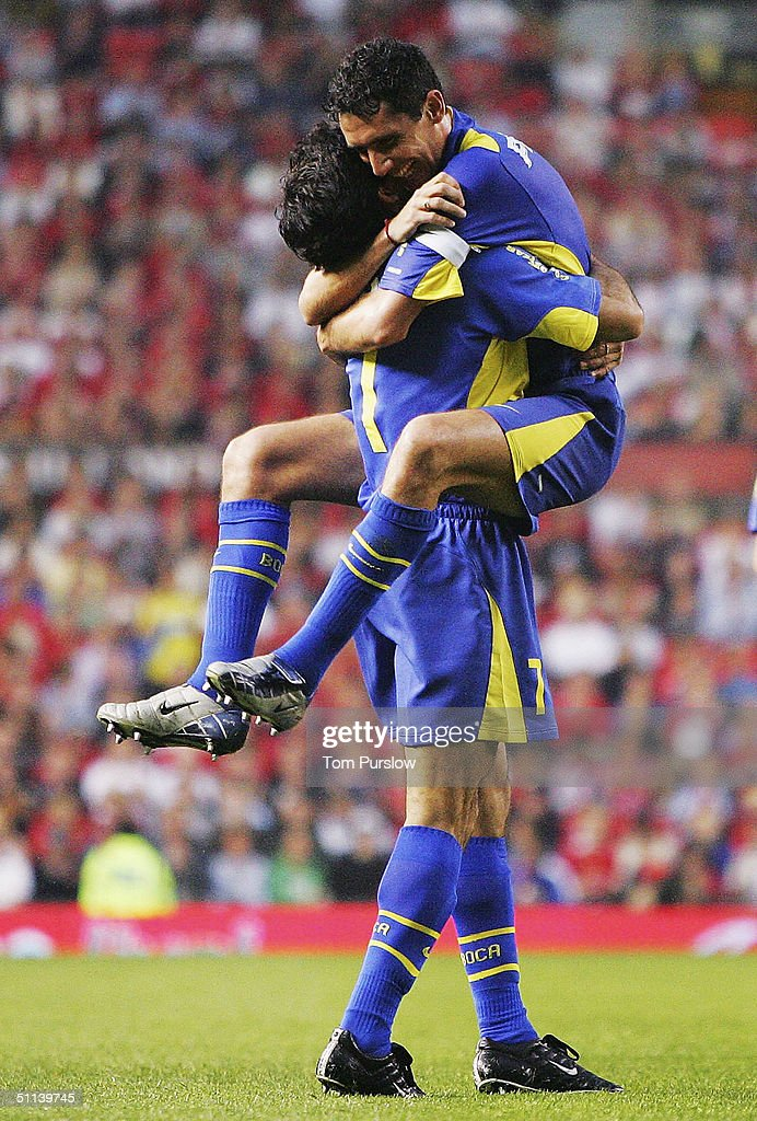 Diego Cagna of Boca Juniors celebrates scoring the fifth goal during the Vodafone Cup preseason match between Urawa Red Diamonds and Boca Juniors at...