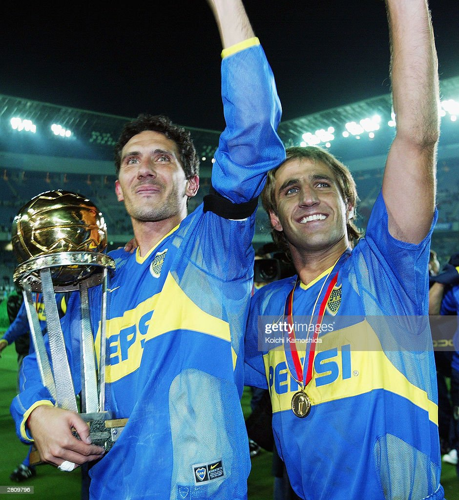 Diego Cagna of Boca Juniors celebrates the victory of the EuropeanSouth American Cup club soccer championship at the Yokohama International stadium...