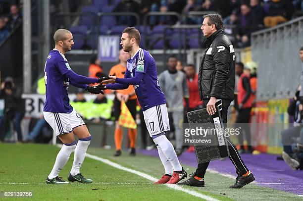 Diego Capel midfielder of RSC Anderlecht and Sofiane Hanni midfielder of RSC Anderlecht during the Jupiler Pro League match between Club Brugge KV...