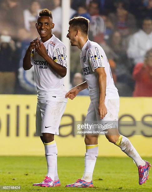 Diego Cardoso of Santos celebrates their thirth goal during the match between Santos and Chapecoense for the Brazilian Series A 2014 at Vila Belmiro...